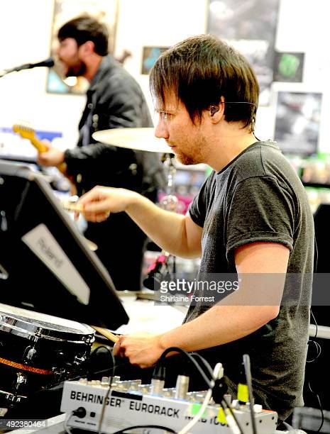 Liam Watts of The Enemy performs and signs copies of their new album 'It's Automatic' at HMV on October 12, 2015 in Manchester, England.