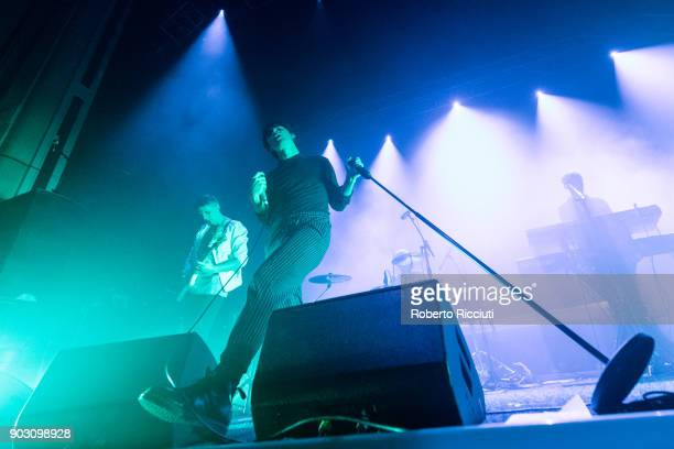 Liam Willford Chris Caines and David Goulbourn of Coasts perform on stage at O2 Academy Glasgow on January 9 2018 in Glasgow Scotland
