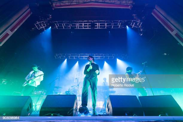 Liam Willford Chris Caines and James Gamage of Coasts perform on stage at O2 Academy Glasgow on January 9 2018 in Glasgow Scotland