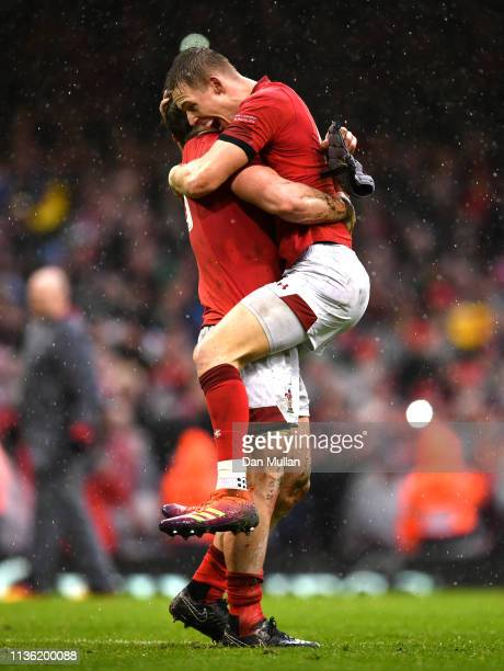 Liam Williaams and Jonathan Davies of Wales celebrate winning the Grand Slam and Six Nations Championship following the Guinness Six Nations match...
