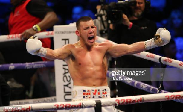 Liam Williams celebrates his win against Joe Mullender Williams won by TKO in the second round on March 8 2019 at the Royal Albert Hall London England