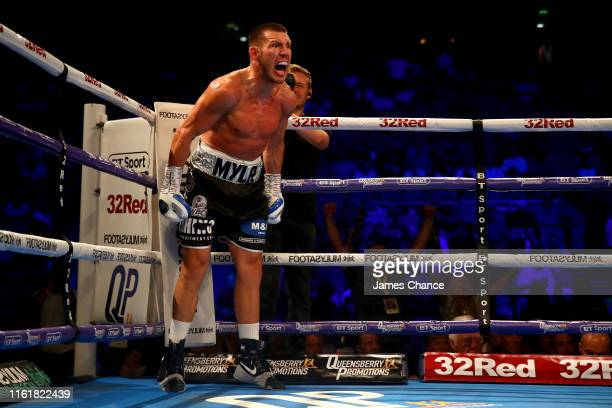Liam Williams celebrates victory over Karim Achour during the WBO Silver Middleweight Title fight between Liam Williams and Karim Achour at The O2...