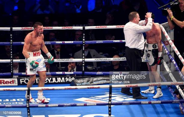 Liam Williams celebrates victory over Mark Heffron as the referee stops teh fight at Manchester Arena on December 22 2018 in Manchester England