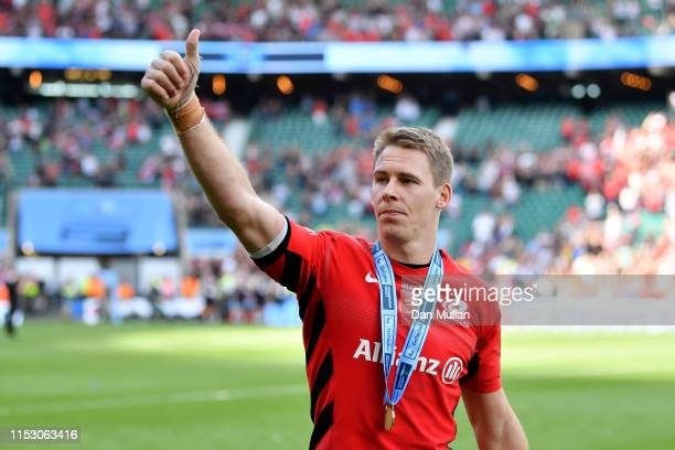 Liam Williams of Saracens celebrates following the Gallagher Premiership Rugby Final between Exeter Chiefs and Saracens at Twickenham Stadium on June...
