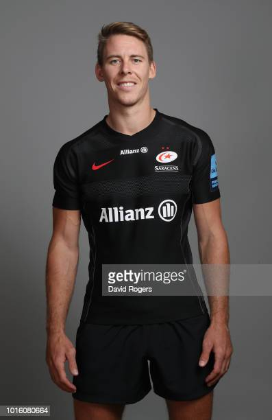 Liam Williams of Saracens poses for a portrait during the Saracens squad photo call for the 201819 Gallagher Premiership Rugby season on August 13...