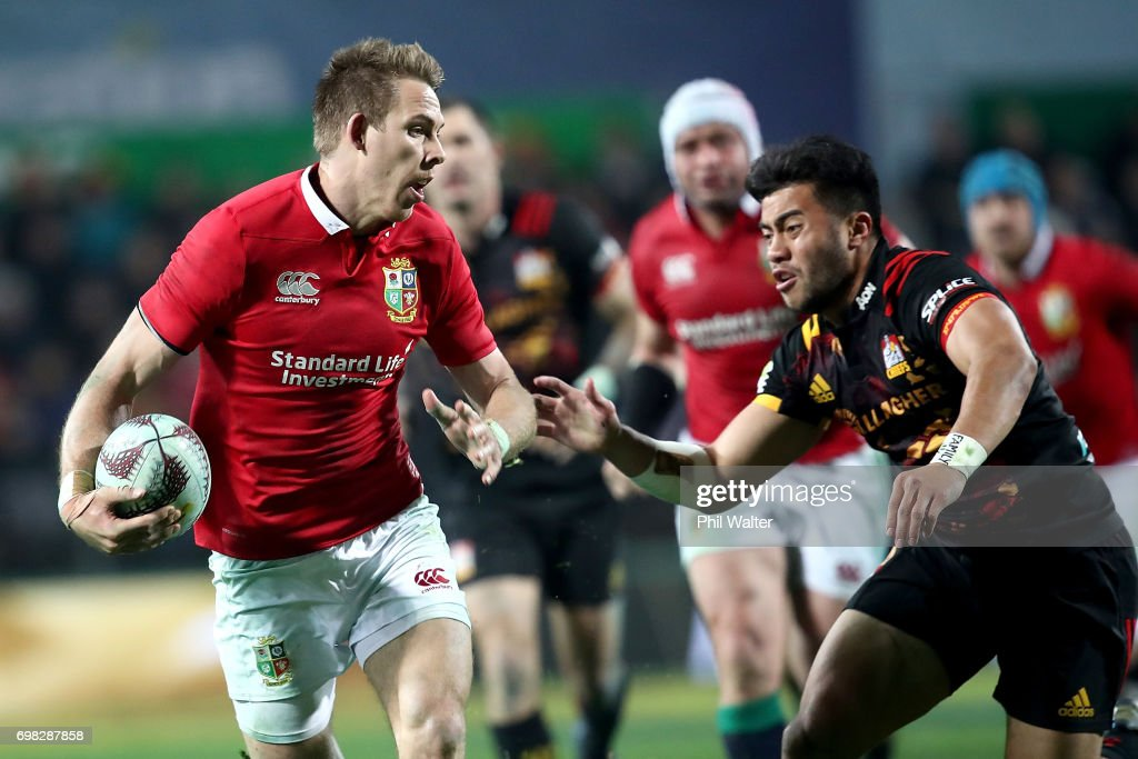 Liam Williams of the Lions is tackled during the match between the Chiefs and the British & Irish Lions at Waikato Stadium on June 20, 2017 in Hamilton, New Zealand.