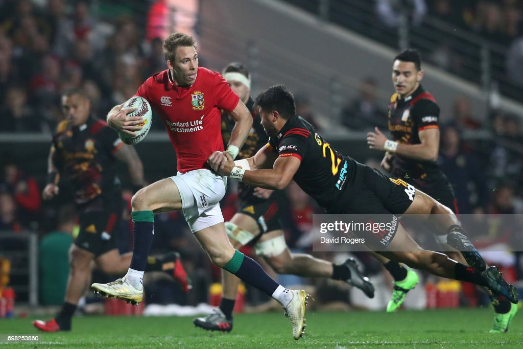 Liam Williams of the Lions looks for support as he is tackled by Jonathan Taumateine of the Chiefs during the 2017 British & Irish Lions tour match between the Chiefs and the British & Irish Lions at the Waikato Stadium on June 20, 2017 in Hamilton, New Zealand.