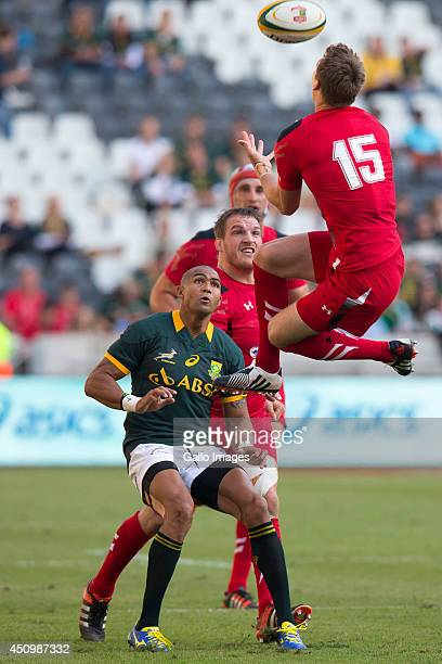 Liam Williams of Wales and Cornal Hendricks of South Africa during the 2nd test match between South Africa and Wales at Mbombela Stadium on June 21...