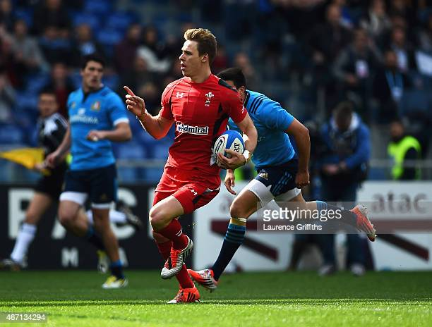 Liam Williams of Wales celebrates scoring his try during the RBS 6 Nations match between Italy and Wales at Stadio Olimpico on March 21 2015 in Rome...