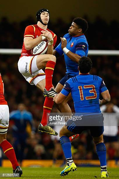 Liam Williams of Wales claims a high ball during the RBS Six Nations match between Wales and France at the Principality Stadium on February 26 2016...