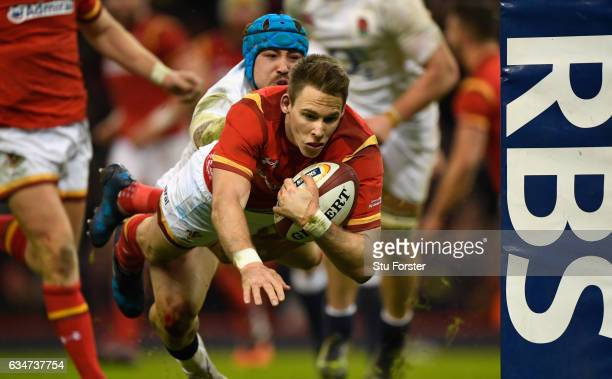 Liam Williams of Wales dives over to score during the RBS Six Nations match between Wales and England at Principality Stadium on February 11 2017 in...