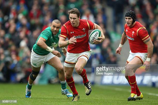 Liam Williams of Wales goes past the challenge from Simon Zebo of Ireland during the RBS Six Nations match between Ireland and Wales at the Aviva...