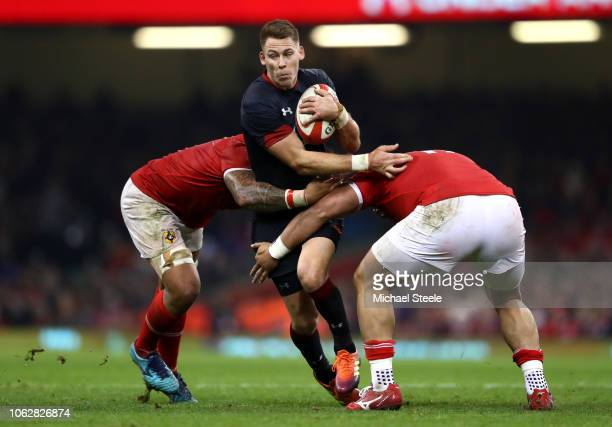 Liam Williams of Wales is tackled during the International Friendly match between Wales and Tonga at Principality Stadium on November 17 2018 in...
