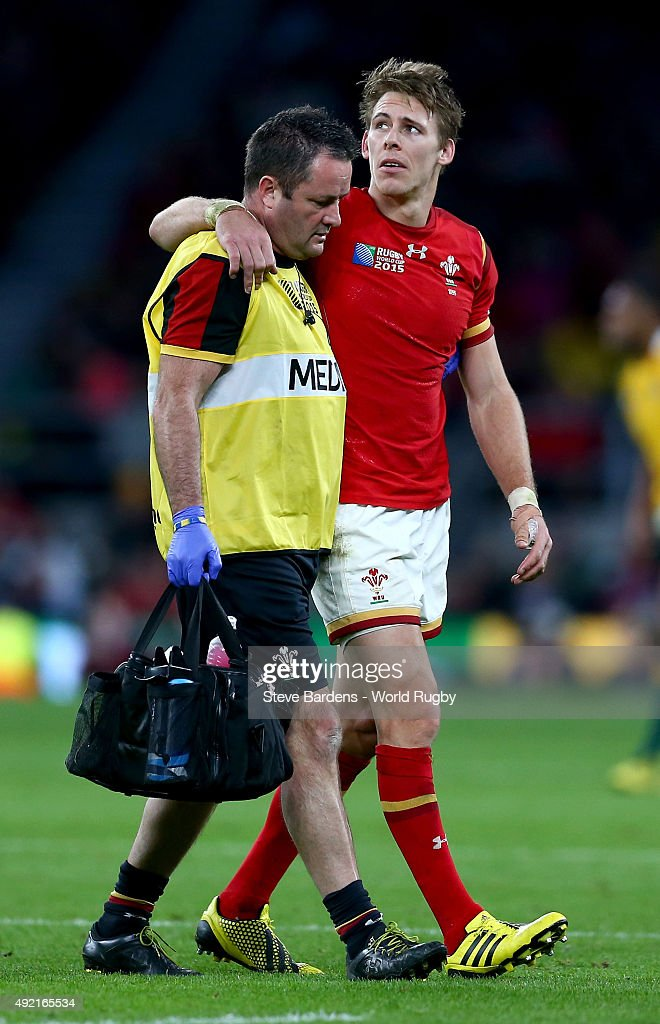 Liam Williams of Wales leaves the field injured during the 2015 Rugby World Cup Pool A match between Australia and Wales at Twickenham Stadium on October 10, 2015 in London, United Kingdom.