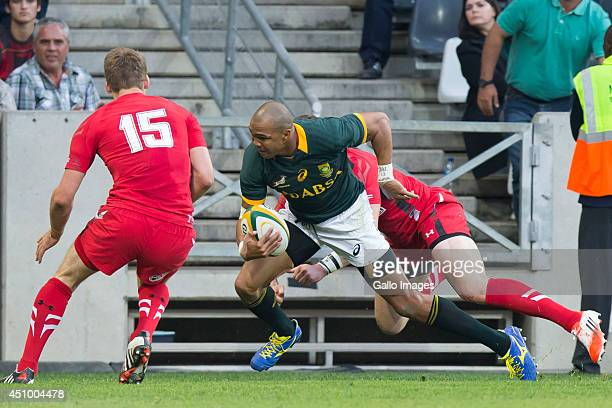 Liam Williams of Wales moves towards Cornal Hendricks of South Africa during the 2nd test match between South Africa and Wales at Mbombela Stadium on...
