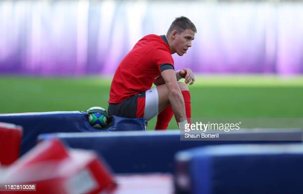 Liam Williams of Wales prepares for a training session at Prince Chichibu Memorial Rugby Ground on October 23 2019 in Tokyo Japan