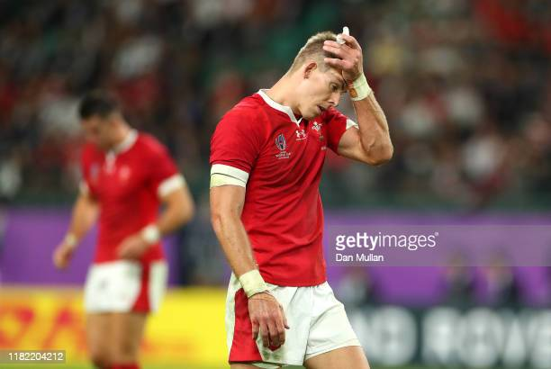 Liam Williams of Wales reacts during the Rugby World Cup 2019 Quarter Final match between Wales and France at Oita Stadium on October 20 2019 in Oita...