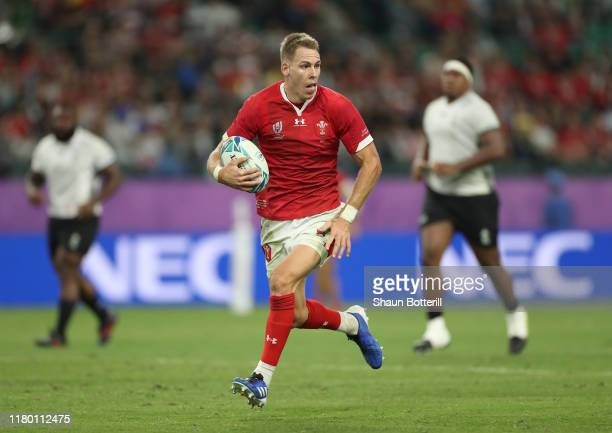 Liam Williams of Wales runs with the ball during the Rugby World Cup 2019 Group D game between Wales and Fiji at Oita Stadium on October 09 2019 in...