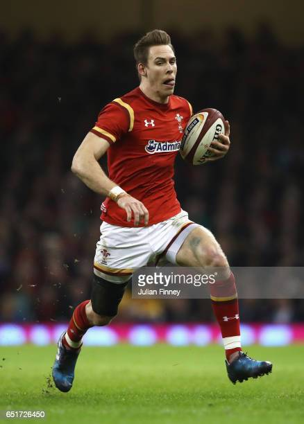 Liam Williams of Wales runs with the ball during the Six Nations match between Wales and Ireland at the Principality Stadium on March 10 2017 in...