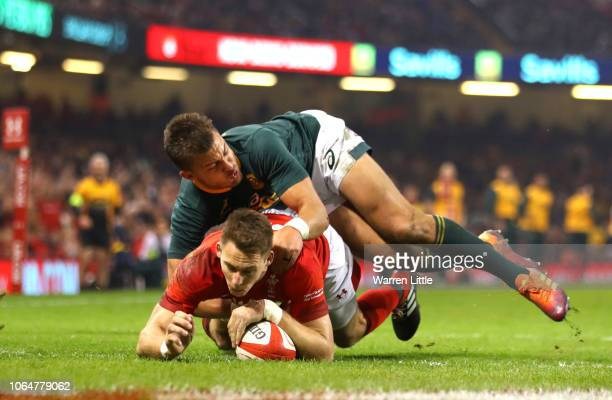 Liam Williams of Wales scores his sides second goal during the International Friendly match between Wales and South Africa on November 24 2018 in...