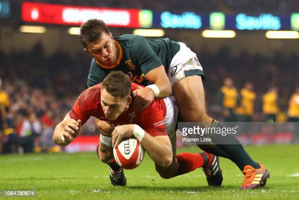 Liam Williams of Wales scores his sides second try during the International Friendly match between Wales and South Africa on November 24 2018 in...