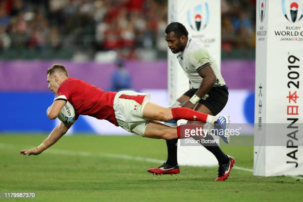 Liam Williams of Wales scores his team's fourth try during the Rugby World Cup 2019 Group D game between Wales and Fiji at Oita Stadium on October 09...