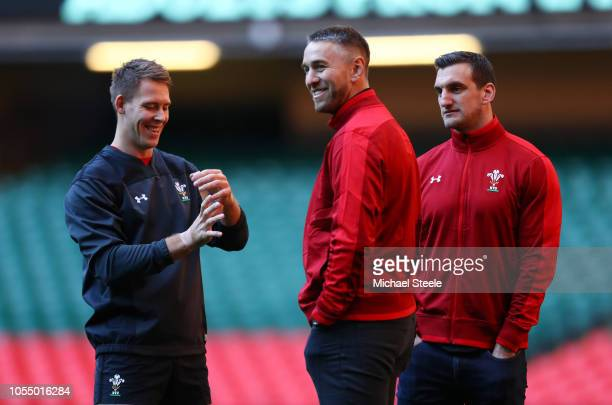 Liam Williams of Wales speaks to ex players Ryan Jones and Sam Warburton during a Wales Press Conference at Principality Stadium on October 29, 2018...
