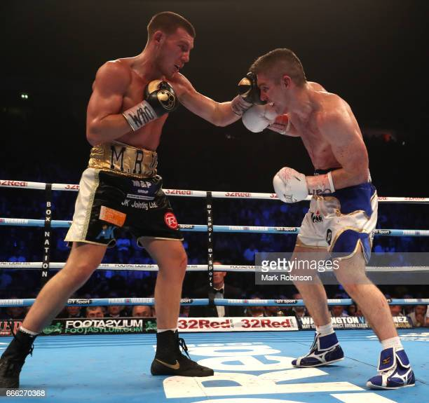 Liam Williams throws a punch at Liam Smith during their WBO Interim World SuperWelterweight fight at Manchester Arena on April 8 2017 in Manchester...