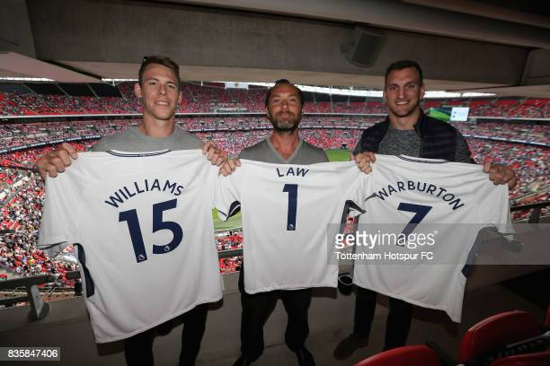 Liam Williams Wales Rugby Union player Jude Law Actor and Sam Warburton Wales Rugby Union player pose for a photograph prior to the Premier League...