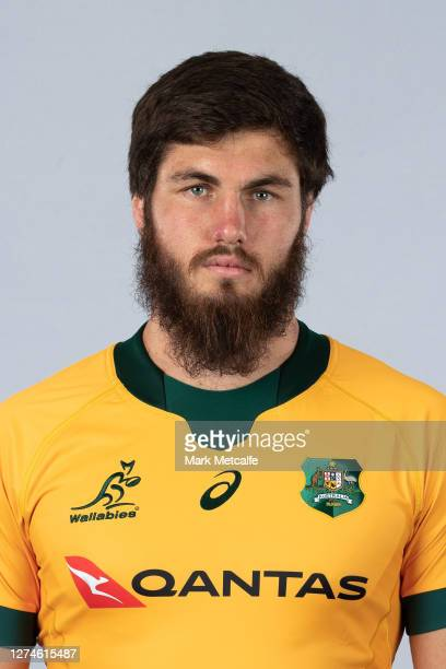 Liam Wright poses during the Australian Wallabies rugby team headshots session at the Crowne Plaza on September 21 2020 in the Hunter Valley Australia