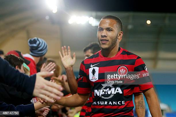 Liam Youlley of the Wanderers celebrates winning the FFA Cup Round of 16 match between Palm Beach Sharks and Western Sydney Wanderers at Cbus Super...