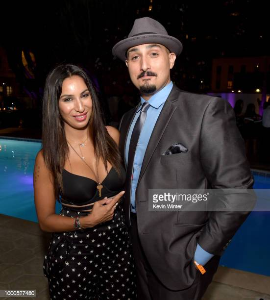 Liana Mendoza and Adam Mendoza pose at the after party for the premiere of FX's 'Snowfall' Season 2 at the Hotel Figueroa on July 16 2018 in Los...