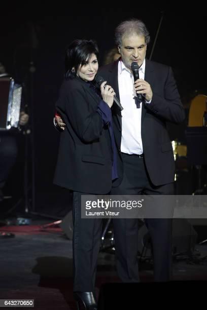 Liane Foly and Raphael Mezrahi attend 'La Nuit De La Deprime 2017' at Folies Bergeres on February 20 2017 in Paris France