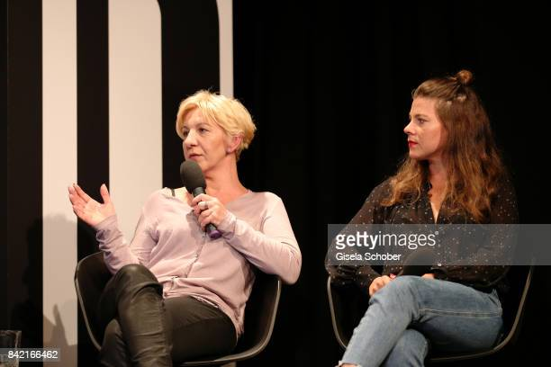 Liane Mallinger and Jessica Weiss of Journelles attend the talk at the Mint Berry live panel session during the Bread Butter by Zalando at Festsaal...