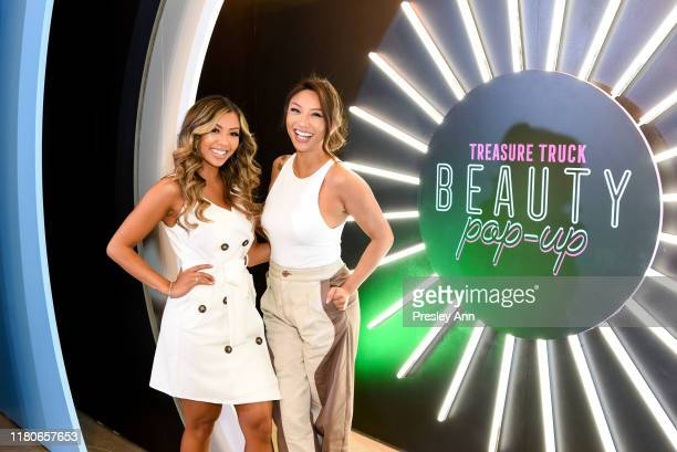 Liane Valenzuela and Jeannie Mai attend Amazon's Treasure Truck Electric Beauty Pop Up Experience with Jeannie Mai at The Americana at Brand on...