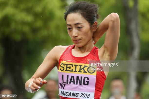 Liang Rui of China in action during Women's 50 kilometres Race Walk of IAAF World Race Walking Team Championships Taicang 2018 on May 5 2018 in...