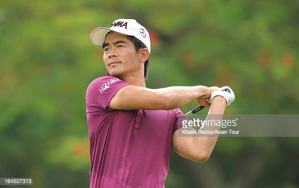 Liang Wen Chong of China plays a shot during round four of the Maybank Malaysian Open at Kuala Lumpur Golf Country Club on March 24 2013 in Kuala...
