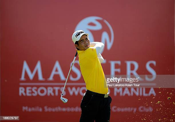 Liang Wen chong of China plays a shot during round two of the Resorts World Manila Masters at Manila Southwoods Golf and Country Club on November 15...