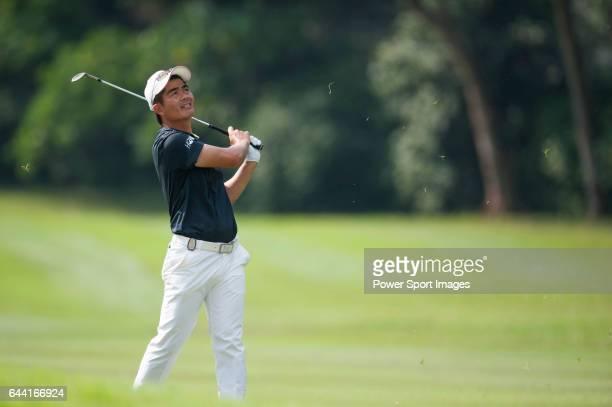 Liang Wenchong from China hits the ball during Hong Kong Open golf tournament at the Fanling golf course on 22 October 2015 in Hong Kong China
