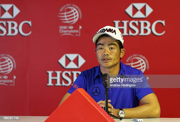 Liang Wenchong of China addresses the media during a press conference at the WGC HSBC Champions at the Sheshan International Golf Club on October 30...