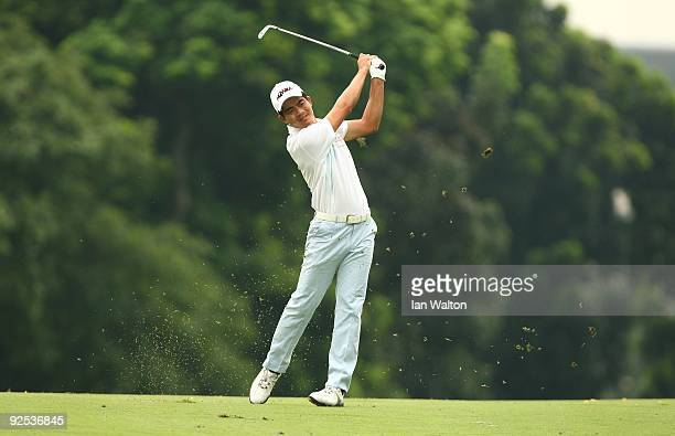 Liang WenChong of China in action during Round One of the Barclays Singapore Open at Sentosa Golf Club on October 29 2009 in Singapore Singapore