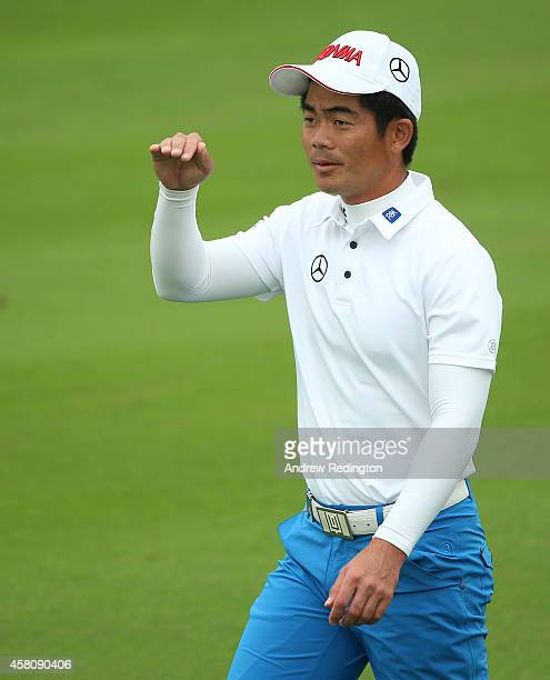 Liang Wenchong of China is pictured on the tenth hole during the first round of the BMW Masters at Lake Malaren Golf Club on October 30 2014 in...
