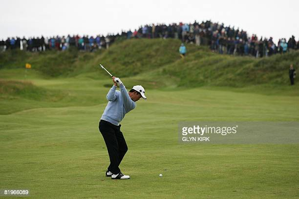 Liang Wenchong of China looks towards the 10th green on the first day of The Open golf tournament at Royal Birkdale in Southport in northwest England...