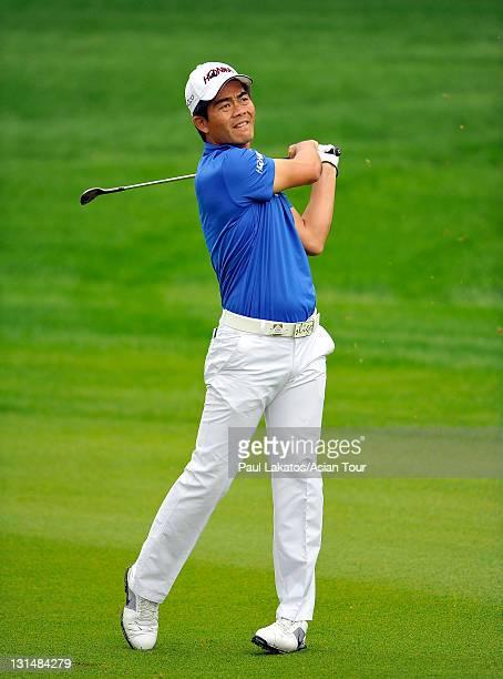 Liang Wenchong of China plays a shot during round three of the HSBC Champions at Sheshan International Golf Club on November 5 2011 in Shanghai China