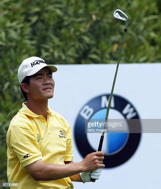 Liang WenChong of China Republic watches his tee shot on the 8th hole during Round Two of the BMW Asian Open at the Tomson Pudong Golf Club on April...