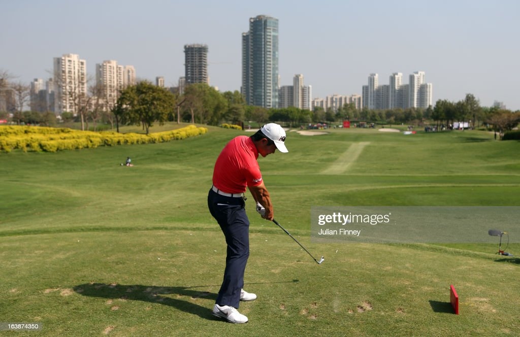Liang Wenchong of China tees off on the 17th hole during day four of the Avantha Masters at Jaypee Greens Golf Club on March 17, 2013 in Delhi, India.