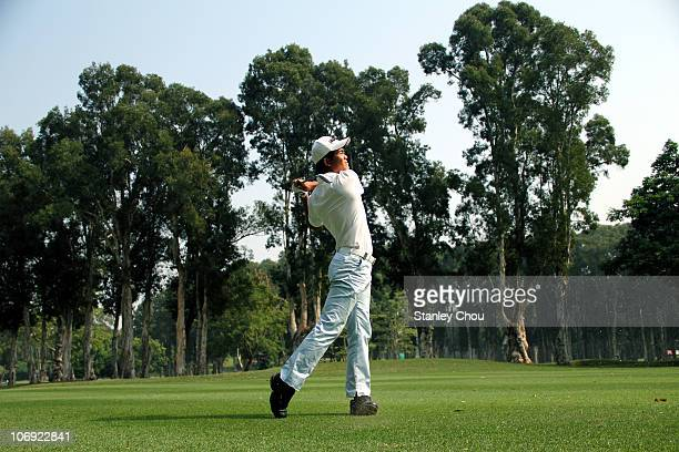 Liang WenChong plays his 2nd shot on the 7th hole during previews ahead of the USB Hong Kong Open at The Hong Kong Golf Club on November 17 2010 in...