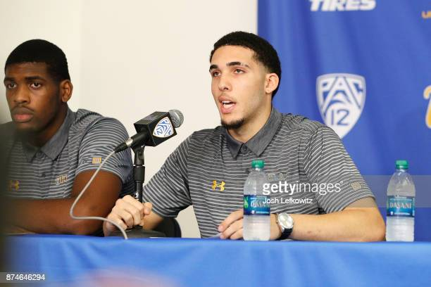 LiAngelo Ball and Cody Riley of the UCLA Men's Baskeball team speak to the media during a press conference at Pauley Pavilion on November 15 2017 in...