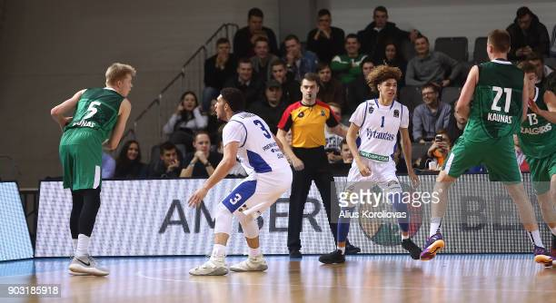 LiAngelo Ball and LaMelo Ball of Vytautas Prienai in action during the match between Vytautas Prienai and Zalgiris Kauno on January 9 2018 in Prienai...