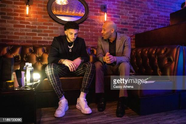 LiAngelo Ball and LaVar Ball talk together at LiAngelo Ball's 21st Birthday Party at Argyle club on November 23, 2019 in Hollywood, California.